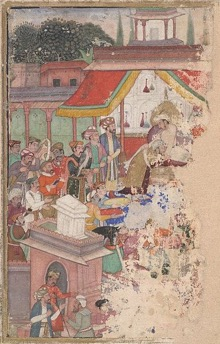 Jahangir investing a courtier with a robe of honour watched by Sir Thomas Roe, English ambassador to the court of Jahangir at Agra between 1615 and 1618
