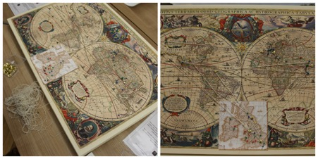 Hondius' world map (1641), with Willem Blaeu insert (and nestling TIDE logo).