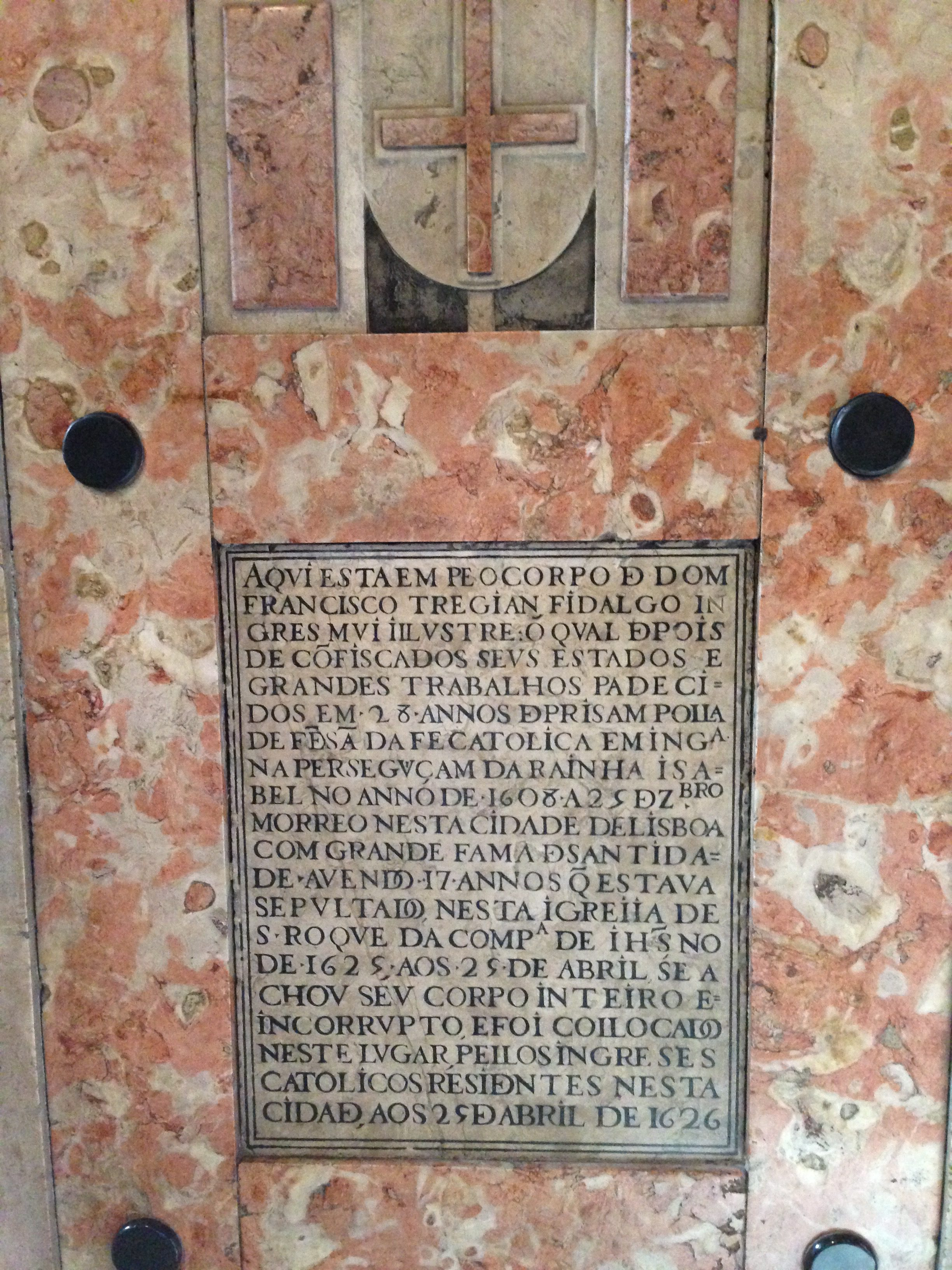 The inscription to the tomb of Francis Tegian in Saint Roch Church, Lisbon.
