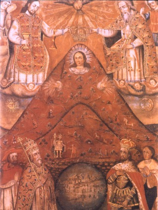 Anonymous Andean painter, The Virgin of the Cerro Rico of Potosi , early, c18 from an original dating from before 1558.