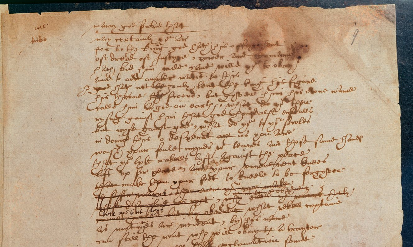 Fragment of The Book of Sir Thomas More, handwritten by William Shakespeare