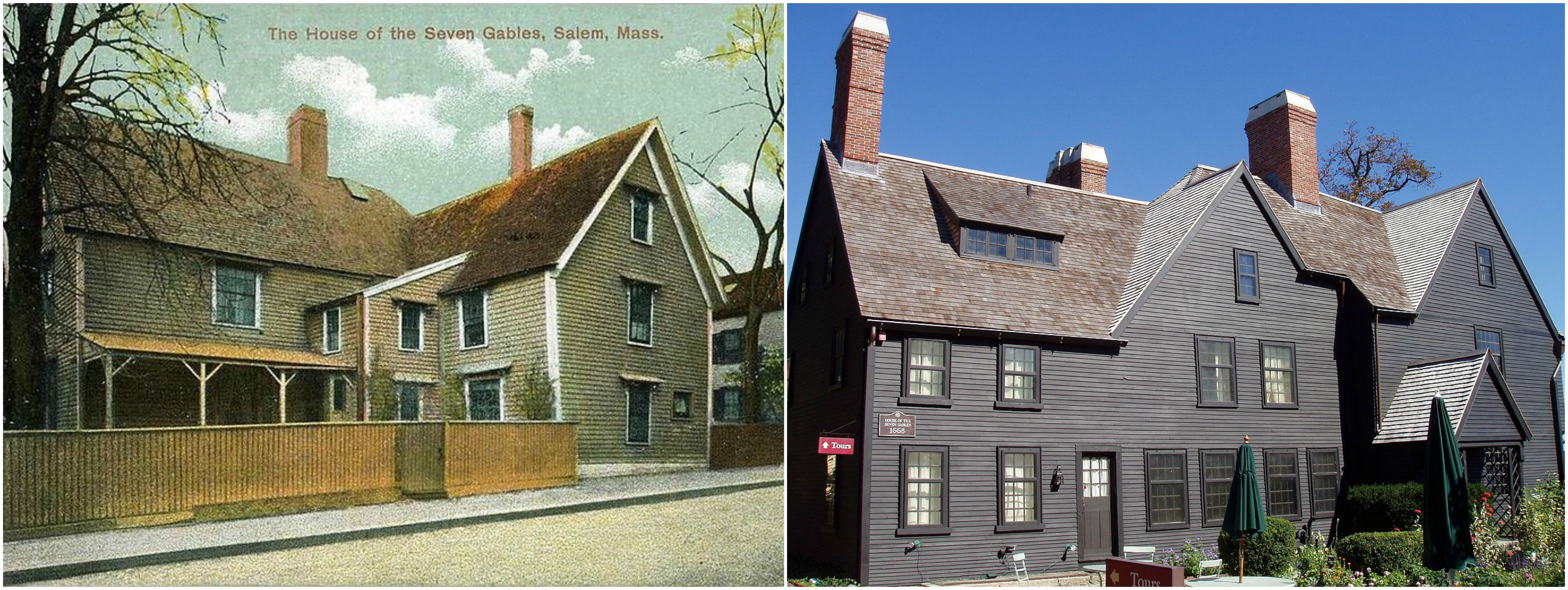 House of the Seven Gables, c. 1905, photo courtesy of WikiCommons, juxtaposed against the restored building today