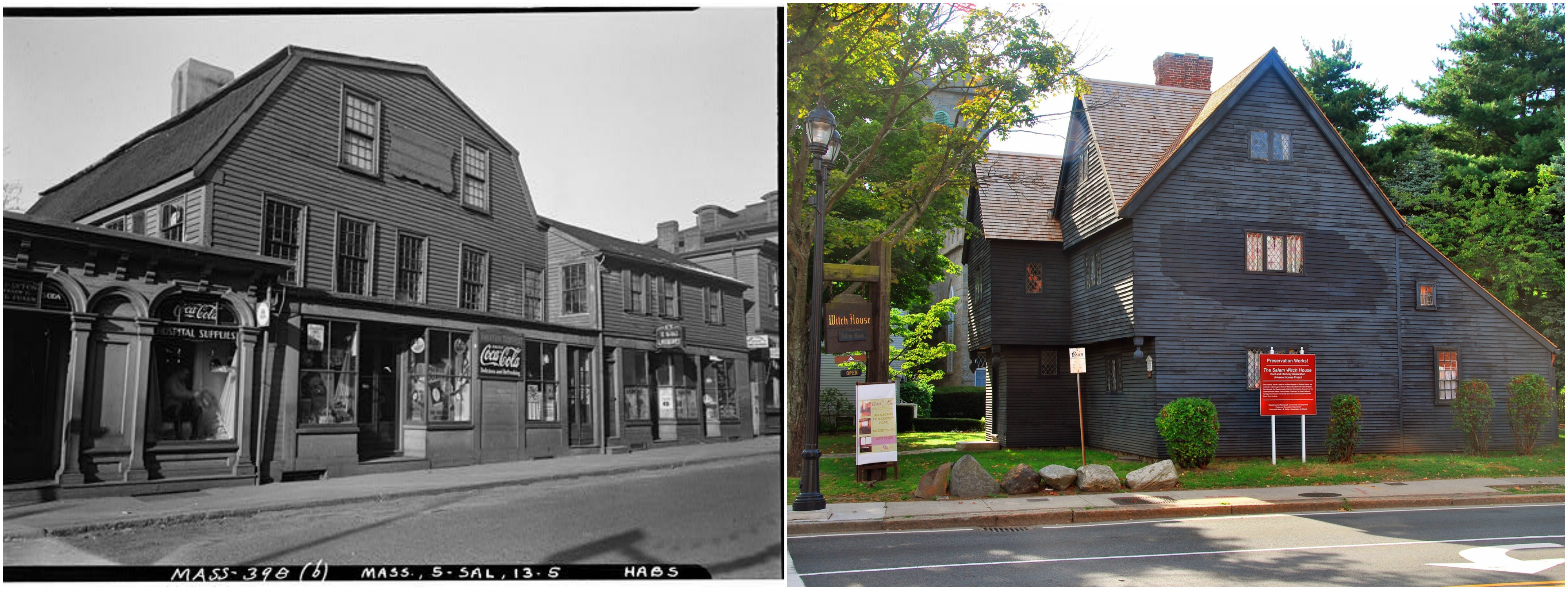 The Witch House as it stood on Essex Street at the time of the Historic American Buildings Survey (HABS) report, c. 1933; the Witch House as it now stands