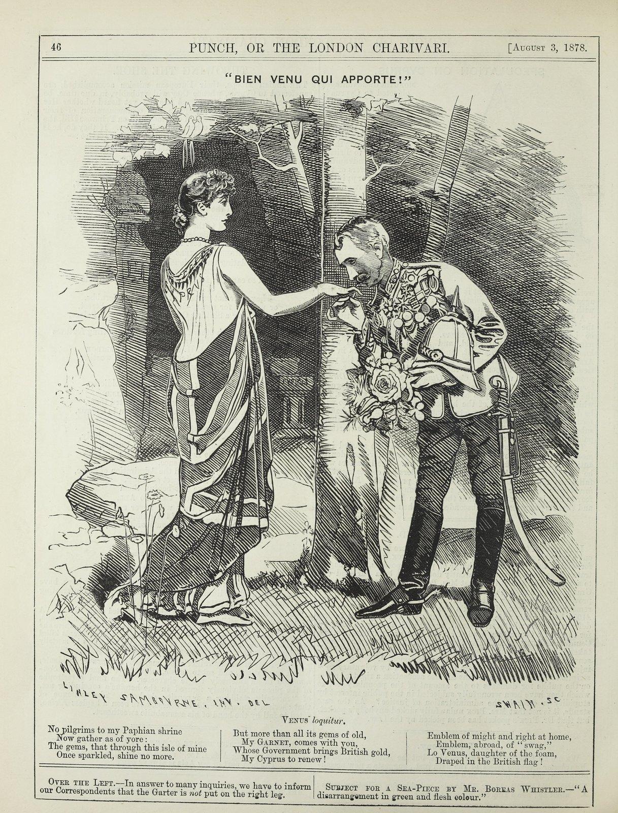 Punch, 'Bien venu qui apporte!', 3 August 1878,  p. 46.