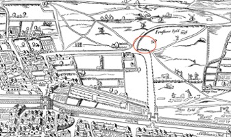 "Roughly on the spot of what is later known as ""Upper Moorfields"" and in the area known in the 1570s and 1580s as the recreational land Finsbury Fields (just north of Moorfield and the ditches outside the city wall). To the left was the neighbourhood north of Cripplegate and to the right the growing neighbourhoods north of Bishopsgate, whose main road extended north from the church of St Botolph's without Bishopsgate, past Bedlam Hospital, into Norton Folgate, and north through Holywell and St Leonard's parish in Shoreditch. Section of ""Plan of London (circa 1560 to 1570),"" in Agas Map of London 1561 ([s.l.], 1633), British History Online http://www.british-history.ac.uk/no-series/london-map-agas/1561/map [accessed 22 October 2017]."